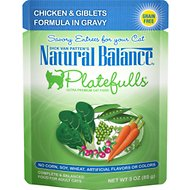 Natural Balance Platefulls Chicken & Giblets Formula in Gravy Grain-Free Cat Food Pouches, 3-oz pouch, case of 24