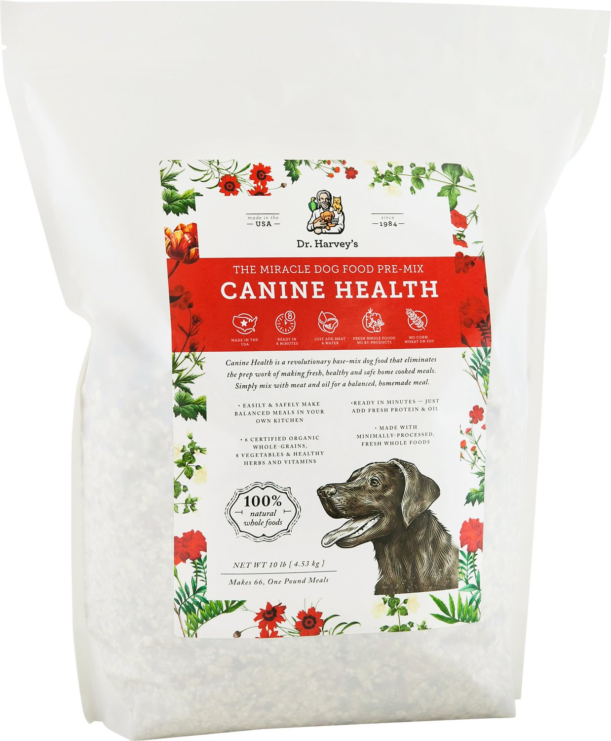dr harvey s canine health the miracle dog food pre mix 10 lb bag