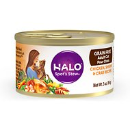 Halo Chicken, Shrimp & Crab Stew Grain-Free Adult Canned Cat Food, 3-oz, case of 12