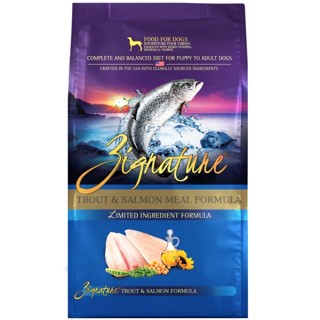 Zignature Dog Food Reviews >> Zignature Trout & Salmon Meal Limited Ingredient Formula Grain-Free Dry Dog Food, 27-lb bag ...