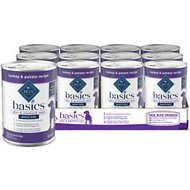 Blue Buffalo Basics Limited Ingredient Grain-Free Turkey & Potato Recipe Canned Dog Food, 12.5-oz, case of 12