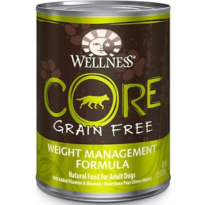 Wellness CORE Grain-Free Weight Management Formula Canned Dog Food, 12.5-oz, case of 12