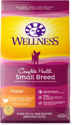 6. Wellness Complete Health Turkey, Oatmeal & Salmon Meal Recipe for Small Breed Puppies