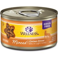 Wellness Minced Chicken Dinner Grain-Free Canned Cat Food, 3-oz, case of 24