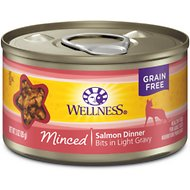 Wellness Minced Salmon Dinner Grain-Free Canned Cat Food, 3-oz, case of 24