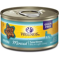Wellness Minced Tuna Dinner Grain-Free Canned Cat Food, 3-oz, case of 24