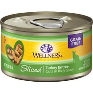 Wellness Sliced Turkey Entree Grain-Free Canned Cat Food, 3-oz, case of 24