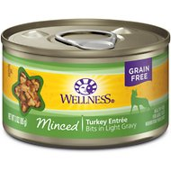 Wellness Minced Turkey Entree Grain-Free Canned Cat Food, 3-oz, case of 24