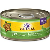 Wellness Minced Turkey Entree Grain-Free Canned Cat Food, 5.5-oz, case of 24