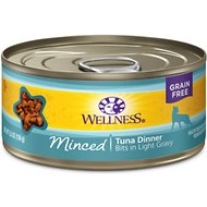 Wellness Minced Tuna Dinner Grain-Free Canned Cat Food, 5.5-oz, case of 24