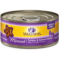 Wellness Minced Turkey & Salmon Entree Grain-Free Canned Cat Food, 5.5-oz, case of 24