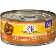 Wellness Morsels Chicken Entree Grain-Free Canned Cat Food, 5.5-oz, case of 24