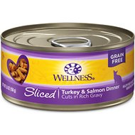 Wellness Sliced Turkey & Salmon Dinner Grain-Free Canned Cat Food, 5.5-oz, case of 24