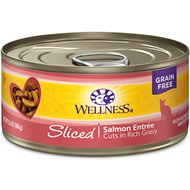 Wellness Sliced Salmon Entree Grain-Free Canned Cat Food, 5.5-oz, case of 24