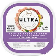 Nutro Ultra Grain-Free Trio Protein Chicken, Lamb & Salmon Pate with Superfoods Adult Wet Dog Food Trays, 3.5-oz, case of 24