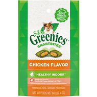 Greenies Feline SmartBites Hairball Control Chicken Flavor Cat Treats, 2.1-oz bag