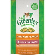Greenies Feline SmartBites Healthy Skin & Fur Chicken Flavor Cat Treats, 2.1-oz bag