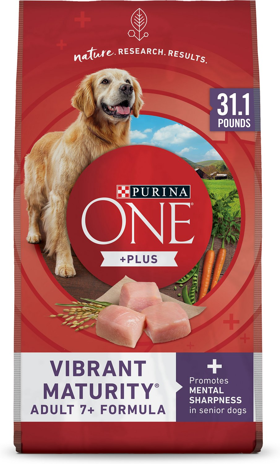 Purina ONE SmartBlend Vibrant Maturity 7+ Adult Formula Dry Dog Food,  31 1-lb bag