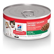 Hill's Science Diet Kitten Savory Salmon Entree Canned Cat Food, 5.5-oz, case of 24