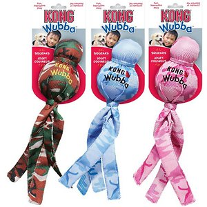 KONG Camo Wubba, Small; The KONG Tugga Wubba is a fun, interactive tug and toss toy! Made from durable reinforced nylon, a squeaker and tails on both ends for twice the shaking fun. The tails make it easy to pick up, throw and the long cylinder of the Tugga Wubba is one big, fun squeaker.