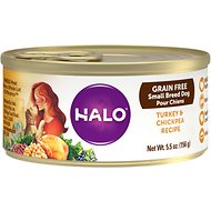 Halo Turkey & Chickpea Recipe Grain-Free Small Breed Canned Dog Food, 5.5-oz case of 12