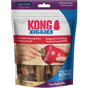 KONG Stuff\\\'N Ziggies Dog Treats, 8-oz bag; Reward your lovable pal with a healthy, savory, anytime snack, and you'll be rewarded with fresh breath doggie kisses every time, thanks to the KONG Stuff\\\'N Ziggies Dog Treats. Made with the irresistible chicken flavor dogs love, and designed to freshen breath naturally with rosemary and parsley, these deliciously chewy teeth-cleaning treats help promote dental health, satisfy your pal's chewing instinct, and make playtime even more rewarding. They're highly-digestible and safe for anytime snacking, and can be stuffed into his favorite KONG rubber toy for even longer-lasting play.