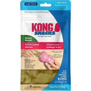 KONG Stuff\\\'N Puppy Snacks Dog Treats, 11-oz; Indulge your playful puppy with the irresistible chicken liver flavor even the pickiest puppies can't resist with the KONG Stuff\\\'N Puppy Snacks Dog Treats. Your growing little one will feel pampered with these tasty and nutritious biscuit-shaped delights, while you will feel good about rewarding her with a low-fat, 100% natural treat. With no wheat, corn, or soy, the formula is specially formulated for puppies' sensitive tummies and includes high-quality, natural ingredients like chicken liver, cheddar cheese, and apples. Plus, they're the perfect shape and size to stuff into your pup's favorite KONG Puppy rubber toy for hours of lasting and rewarding play!
