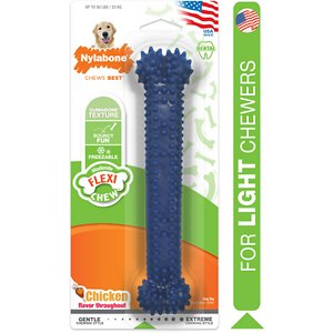 Nylabone Dental Chew Bone Chicken Flavored Dog Chew Toy, Large; Polish your canine companion\\\'s pearly whites without her even knowing it with the Nylabone Flexible Dental Chew Bone Dog Toy. This nubby toy has rounded bristles and nubs that work to clean the teeth, stimulate gums, remove plaque and tartar, and freshen her breath while she satisfies her urge to chew. Dental Chews are a great alternative to chewing up the couch cushion, and recommended by vets!