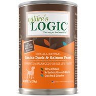 Nature's Logic Canine Duck & Salmon Feast Grain-Free Canned Dog Food, 13.2-oz, case of 12