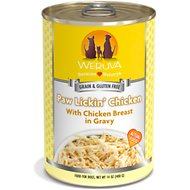 Weruva Paw Lickin' Chicken in Gravy Grain-Free Canned Dog Food, 14-oz, case of 12