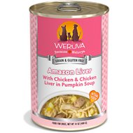 Weruva Amazon Liver with Chicken & Chicken Liver in Pumpkin Soup Grain-Free Canned Dog Food, 14-oz, case of 12