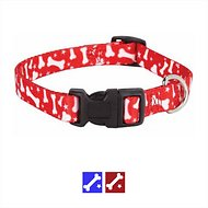 Casual Canine Pooch Pattern Bone Dog Collar, Red, X-Large