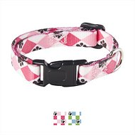 Casual Canine Pooch Pattern Argyle Dog Collar, Pink, Small