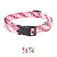 Casual Canine Pooch Pattern Dog Collar, Pink Argyle, Large