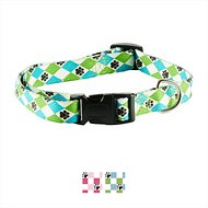 Casual Canine Pooch Pattern Dog Collar, Blue Argyle, Large
