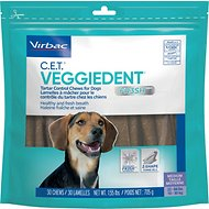 Virbac C.E.T. VeggieDent Tartar Control Dog Chews, Regular, 30 Count