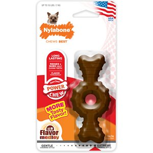 Nylabone DuraChew Textured Ring Flavor Medley Dog Chew Toy, X-Small; Pets agree: the Nylabone Dura Chew Plus Textured Ring Dog Chew Toy makes tails wag and tongues flap. This durable chew toy is so appealing to dogs and so beneficial to their dental health that it is a top-rated product among many veterinarians. The Textured Ring Bone has raised nubs that remove plaque and tartar from your dog\\\'s teeth while he chews, leaving him with that winning smile that makes him leader of the pack. Fetch! Chew! Smile! Show the world those pearly whites.