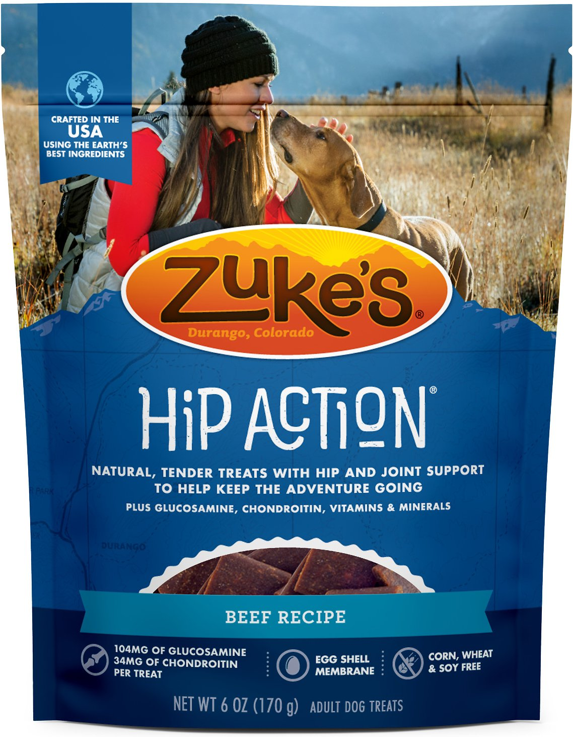 Zuke's Hip Action Beef Recipe Dog Treats, 6-oz bag