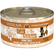 Weruva Cats in the Kitchen Fowl Ball Chicken & Turkey Au Jus Grain-Free Canned Cat Food, 3.2-oz, case of 24