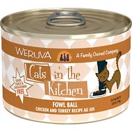 Weruva Cats in the Kitchen Fowl Ball Chicken & Turkey Au Jus Grain-Free Canned Cat Food, 6-oz, case of 24