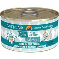 Weruva Cats in the Kitchen Funk In The Trunk Chicken in Pumpkin Consomme Grain-Free Canned Cat Food, 3.2-oz, case of 24