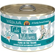 Weruva Cats in the Kitchen Funk In The Trunk Chicken Recipe in Pumpkin Consomme Grain-Free Canned Cat Food, 6-oz, case of 24
