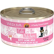 Weruva Cats in the Kitchen Kitty Gone Wild Salmon Au Jus Grain-Free Canned Cat Food, 3.2-oz, case of 24