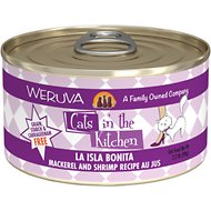 Weruva Cats in the Kitchen La Isla Bonita Mackerel & Shrimp Au Jus Grain-Free Canned Cat Food, 3.2-oz, case of 24