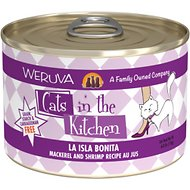 Weruva Cats in the Kitchen La Isla Bonita Mackerel & Shrimp Recipe Au Jus Grain-Free Canned Cat Food, 6-oz, case of 24