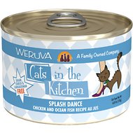 Weruva Cats in the Kitchen Splash Dance Chicken & Ocean Fish Recipe Au Jus Grain-Free Canned Cat Food, 6-oz, case of 24