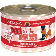 Weruva Cats in the Kitchen Two Tu Tango Sardine, Tuna & Turkey Recipe Au Jus Grain-Free Canned Cat Food, 6-oz, case of 24