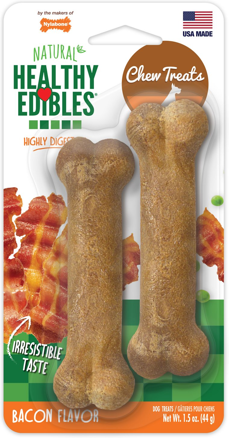 Nylabone Healthy Edibles Twin Pack Bacon Flavor Dog Bone Treats, X-Small