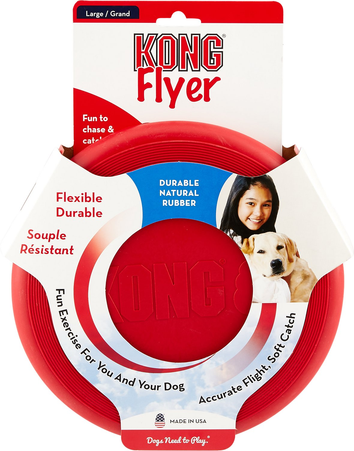 Kong Classic Flyer Frisbee Dog Toy Large Chewy Com