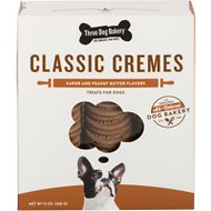 Three Dog Bakery Classic Cremes Carob Cookies with Natural Peanut Butter Filling Dog Treats, 13-oz box